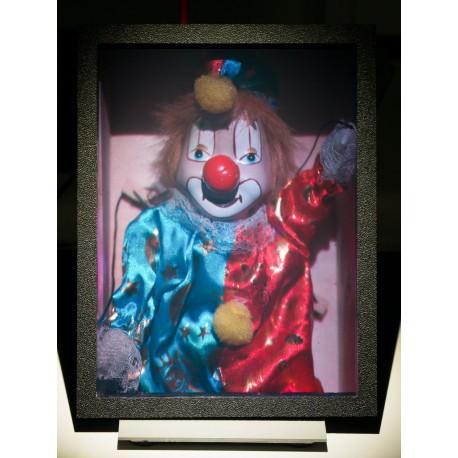 Cheerful clown in a wooden box 15x20cm (by Vladimir)